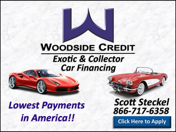 """Johnston Motorsports, Woodside Credit. Image reads """"Woodside Credit, Exotic & Collector Car Financing. Lowest Payments in America. Scott Steckel 816-717-6358. Click Here to Apply"""""""
